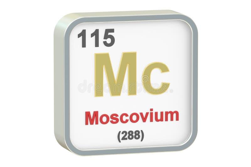 Moscovium chemisch element, het 3D teruggeven stock illustratie