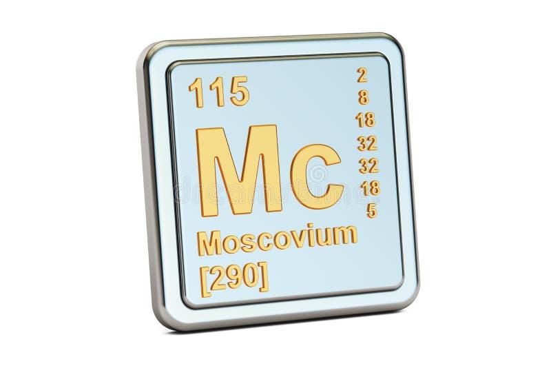 Moscoviummc, chemisch elemententeken het 3d teruggeven stock illustratie