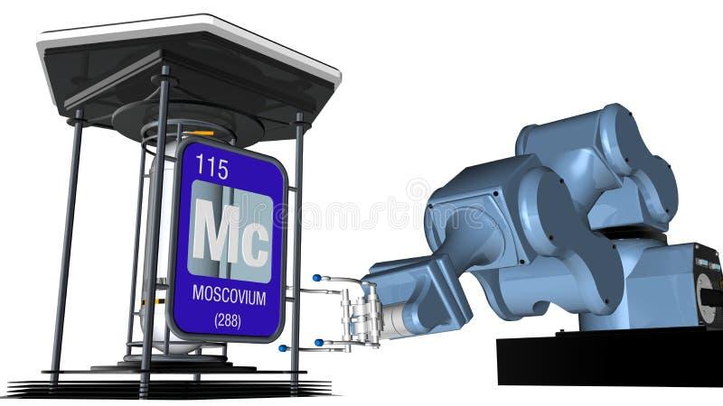 Moscoviumsymbool in vierkante vorm met metaalrand voor een mechanisch wapen dat een chemische container zal houden 3d geef terug vector illustratie