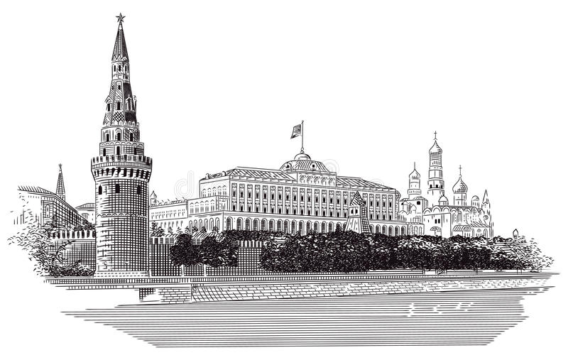 Moscovo Kremlin ilustração royalty free