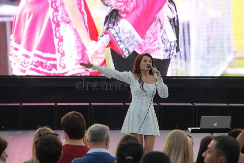 Moscovo, Rússia 9 de setembro de 2018: o concerto responsável Executa um grupo pouco conhecido foto de stock