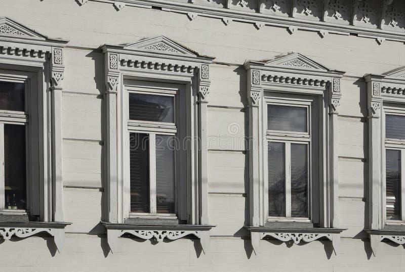 moscow Россия Дом 7/4 улицы Goncharnaya, угол майны Ryumin Часть фасада особняка Filevsky стоковые изображения