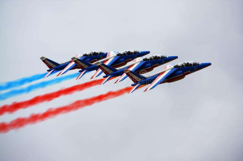 Moscow aerospace show MAKS-2009. AUGUST 2009 French aerobatic team Patrouille de France demonstrate the group flight royalty free stock photo