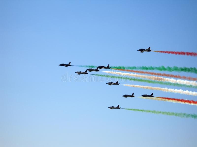 Moscow aerospace show MAKS-2009. AUGUST 2009. Italian demoteam Frecce TRICOLORI DEMONSTRATE THE FLIGHT stock photos