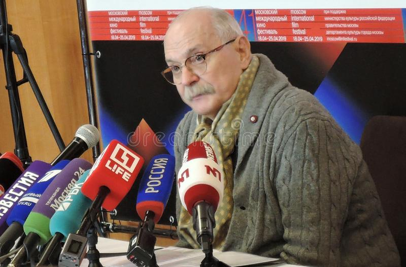 Film director Nikita Mikhalkov at press-conference. MOSCOW - APRIL 18, 2019: Film director, actor and president of Moscow International Film Festival Nikita royalty free stock photography