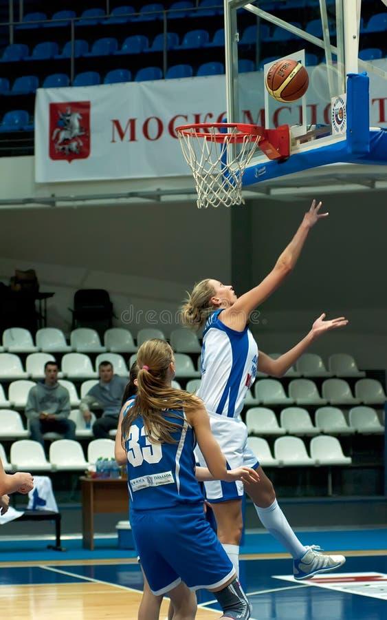 Tatiana Vidmer atack. Captain of Dynamo MSK team royalty free stock photo