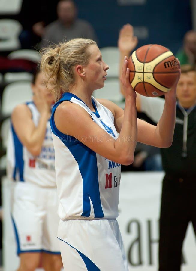 Tatiana Vidmer atack. Captain of Dynamo MSK team royalty free stock image