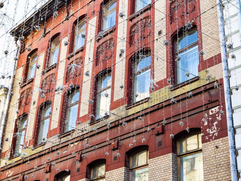 Facade of old apartment house at Kuznetsky Most royalty free stock image