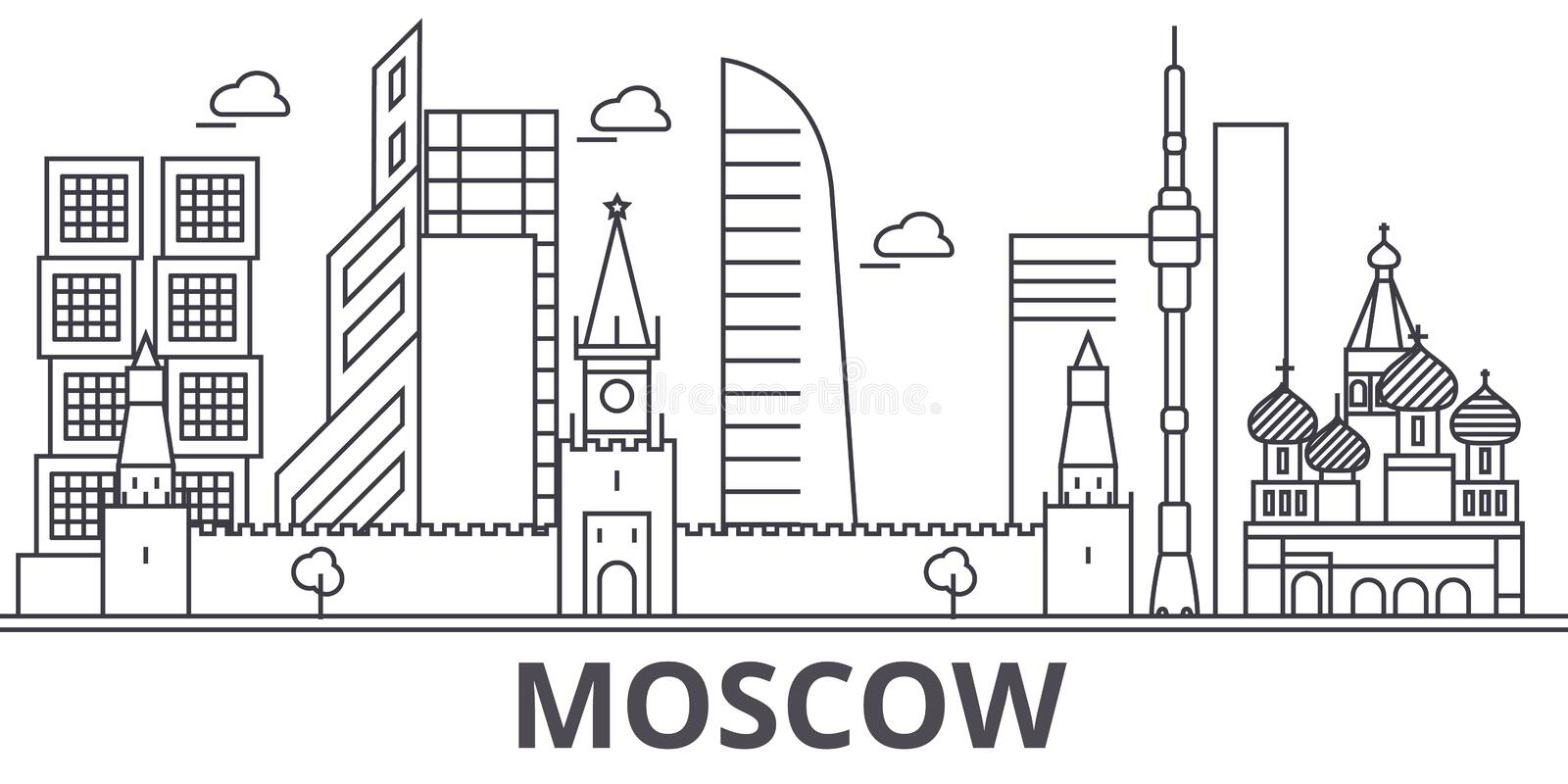 Moscow architecture line skyline illustration. Linear vector cityscape with famous landmarks, city sights, design icons. Editable strokes royalty free illustration