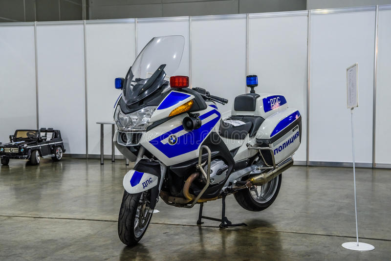 MOSCOW - AUG 2016: police bike BMW K 1600 GT presented at MIAS Moscow International Automobile Salon on August 20, 2016 in Moscow,. Russia stock images