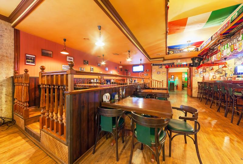 MOSCOW - AUGUST 2014: Interior of the Irish pub and sports bar - Boston stock photos