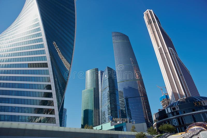 MOSCOW - AUGUST 10, 2017:Low angle view of Moscow-City skyscrapers. Moscow International Business Center is a modern. MOSCOW - AUGUST 10, 2017: Low angle view of royalty free stock images