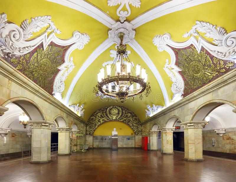 MOSCOW - AUGUST 8, 2018: Train at the metro station Komsomolskaya at night in Moscow, Russia. Komsomolskaya subway is a great royalty free stock photo