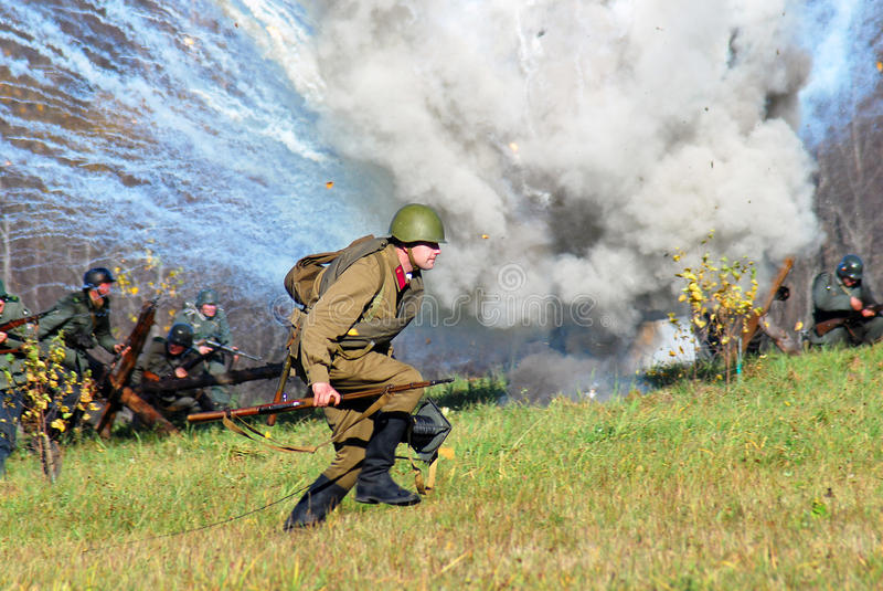 Moscow battle historical reenactment stock image