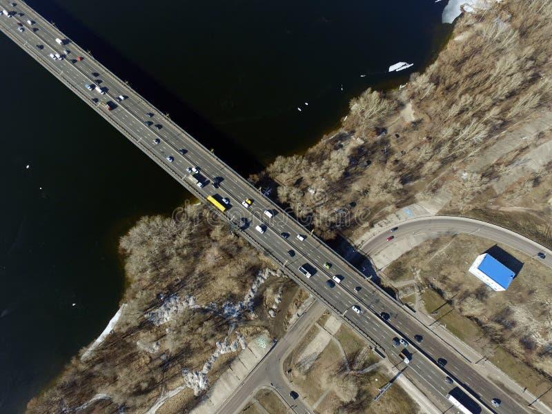 Moscow Bridge across Dnepr River,. Photo from drone at winter. February 18, 2019. Kiev,Ukraine royalty free stock image