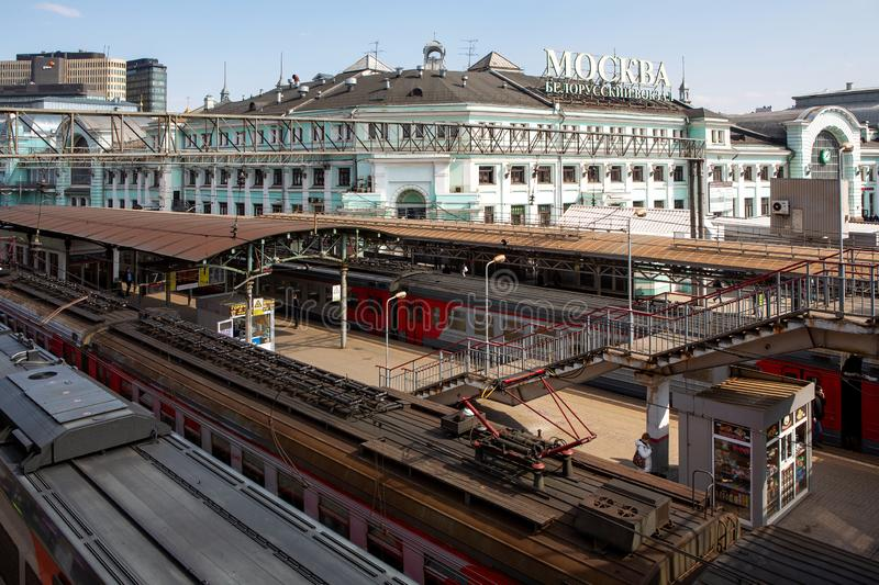 Moscow, the building of the Belorussky railway station, April 2019. Top view of the perona. Rails and trains stock photos