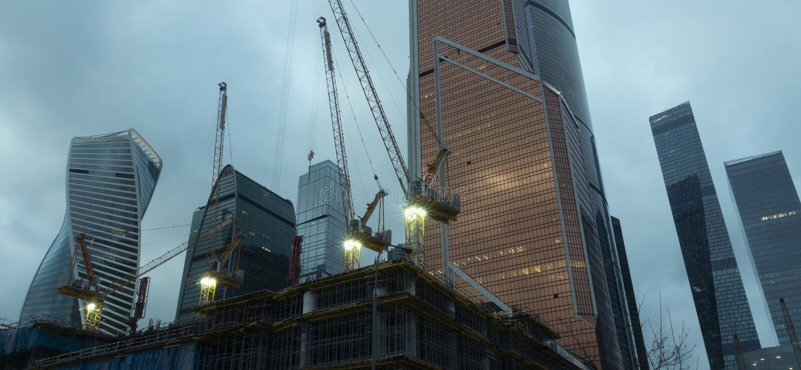 Moscow business center under construction royalty free stock images