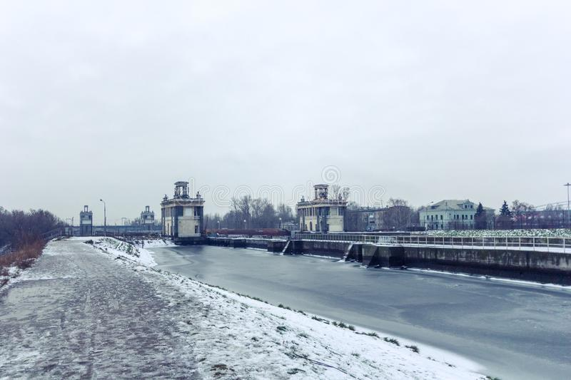 Moscow canal in winter, Russia, Moscow stock images