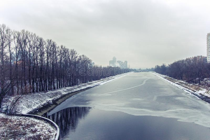 Moscow canal in winter, Russia, Moscow stock image