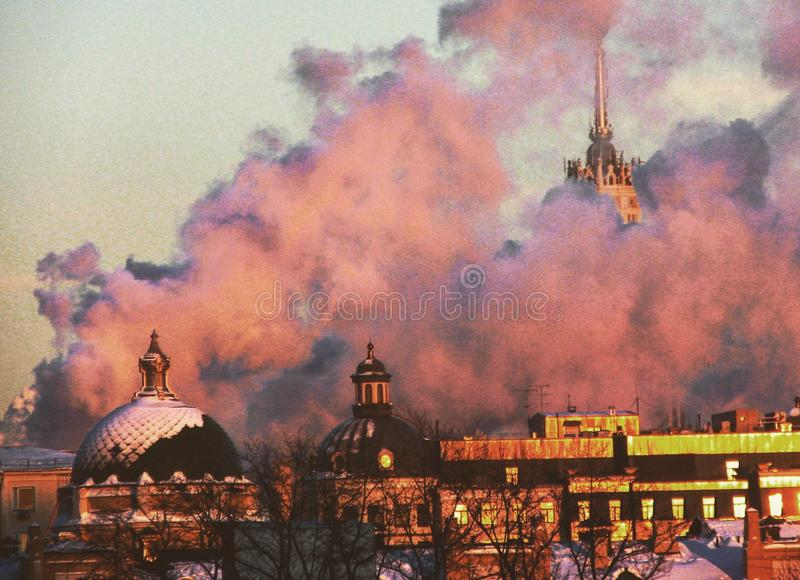 A stunning view of smoky Moscow royalty free stock images