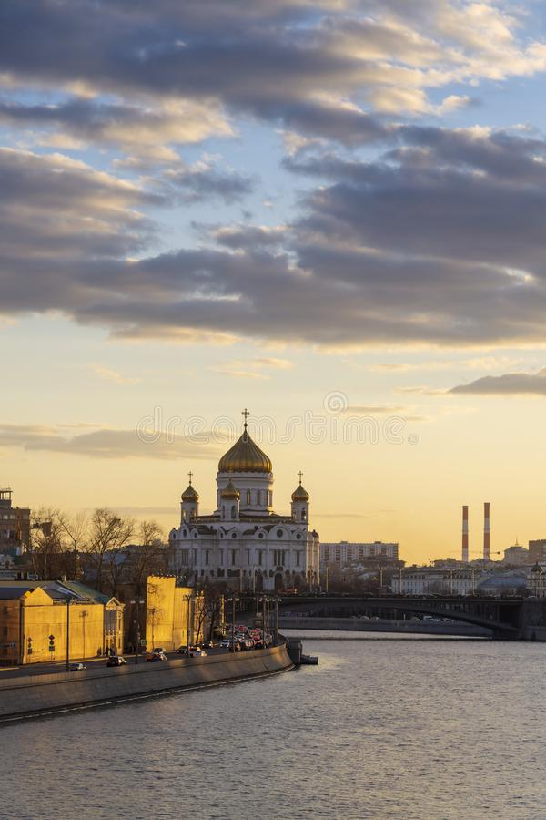 Moscow Cathedral of Christ the Savior and Moscow river and patriarchal bridge with sunset sky background, Moscow city, Russia. royalty free stock photo