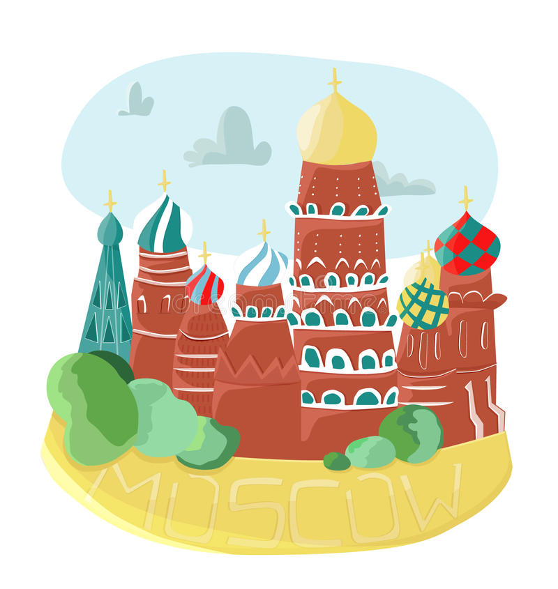 Moscow churches. Moscow, the capital of Russia, is well known for its colorful churches, scattered all around the city center. The most famous one is St.Basil's stock illustration