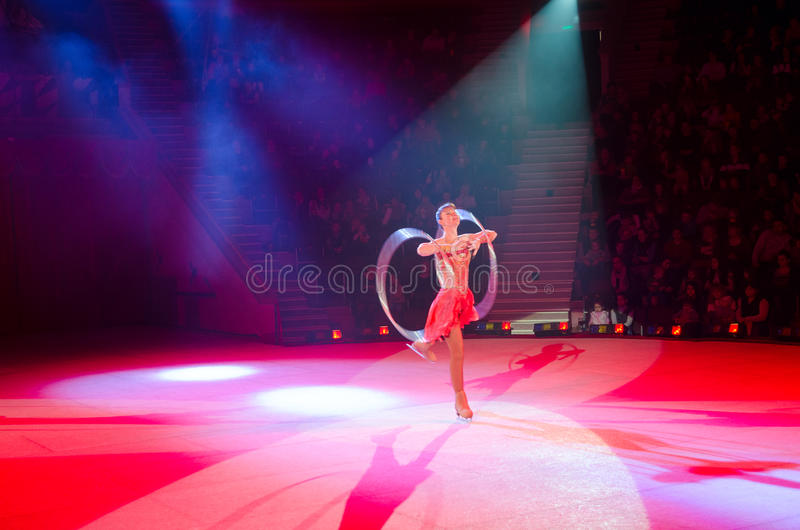 Moscow Circus on Ice on tour. Game with hula hoops royalty free stock images