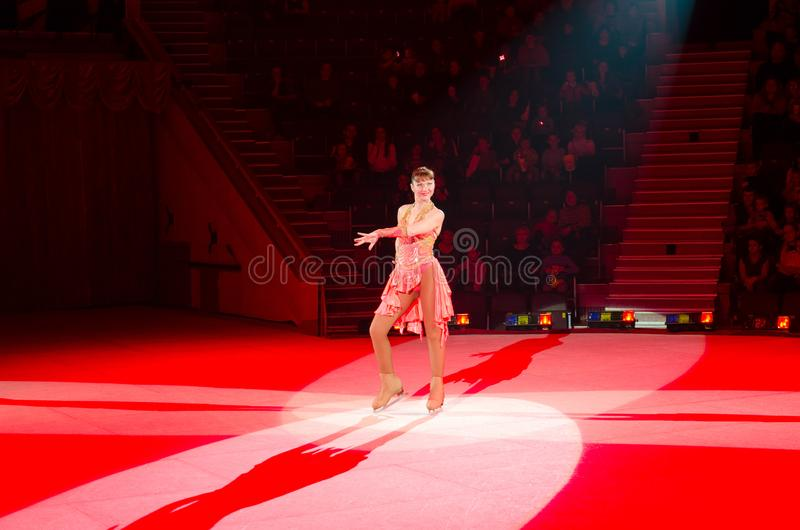 Moscow circus on ice on tour. Game with hula hoops royalty free stock photo