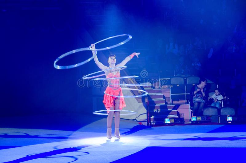 Moscow circus on ice on tour. Game with hula hoops stock photos