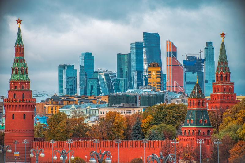 Moscow city on the background of the Kremlin royalty free stock photography