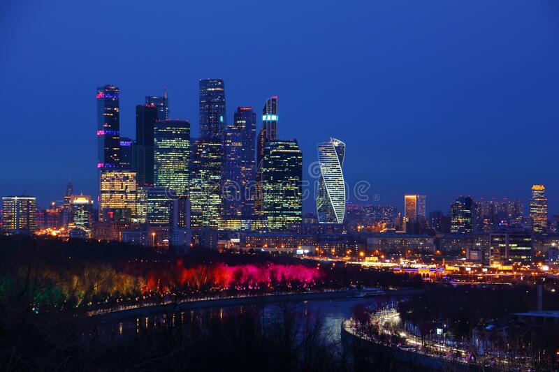 Moscow City business center night view landscape from Vorobyovy Hills stock photos