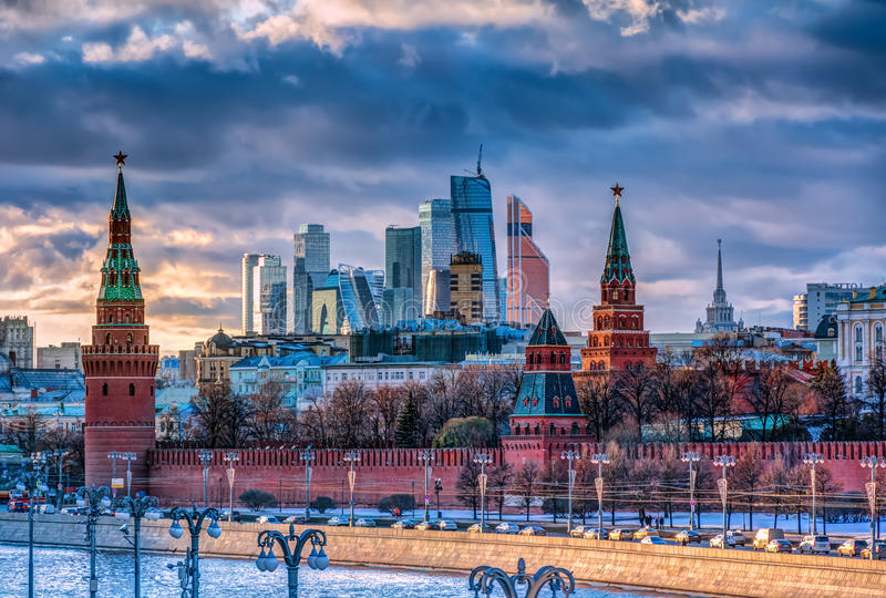 Moscow City and Kremlin royalty free stock images