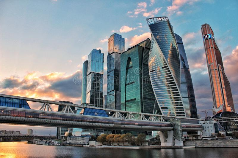 Moscow city lights. Sunset. Moscow city during beautiful sunset royalty free stock photos