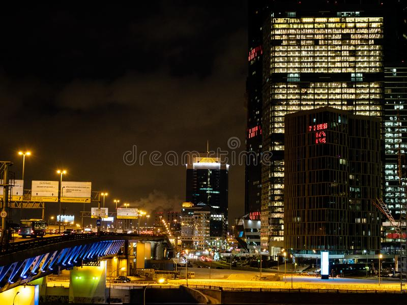 Moscow City near The Third Ring Road at night royalty free stock photography