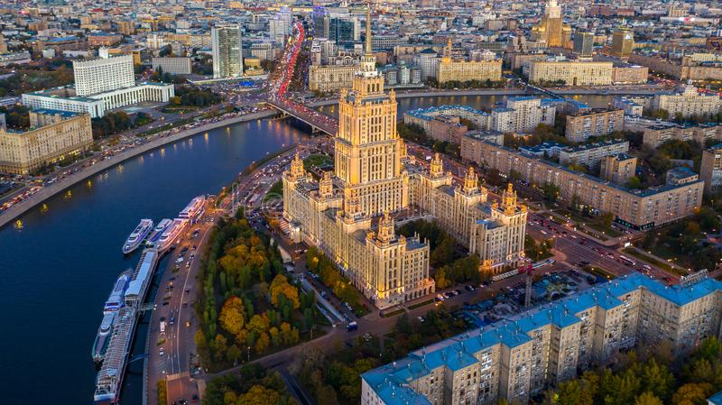 Moscow City with Moscow River in Russian Federation, Moscow skyline with the historical architecture skyscraper, Aerial view,. Russia stock photography