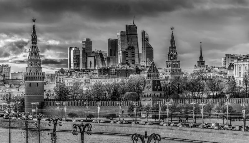 Moscow and Moscow City, Russia royalty free stock image