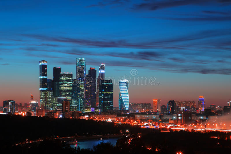 Moscow-city, Russia. Moscow International Business Center at twilight. Moscow-city, Russia. Moscow International Business Center at sunset stock photo
