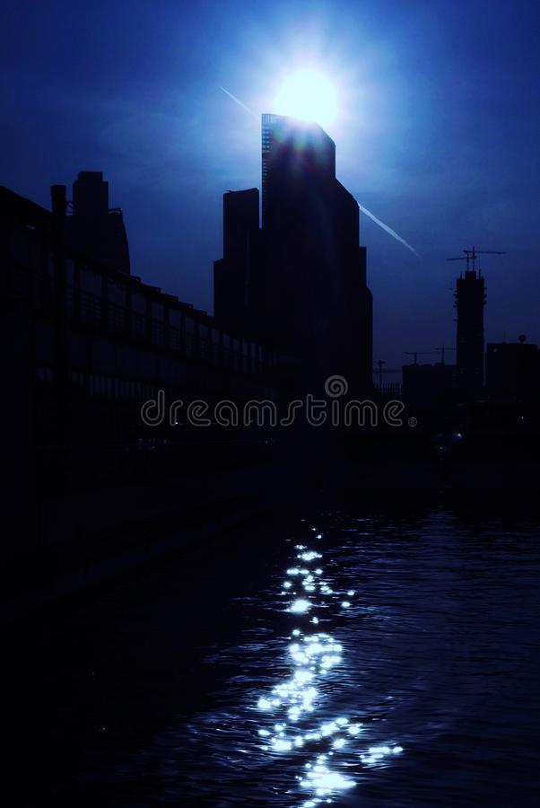 Free Moscow City Silhouette In Blue Tones. Stock Photography - 103128992