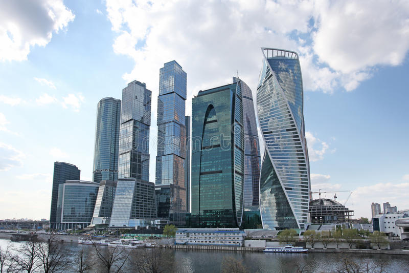Moscow city sky scrapers. Moscow city business center sky scrapers and Moscow river. Russia, April 2016 royalty free stock photo