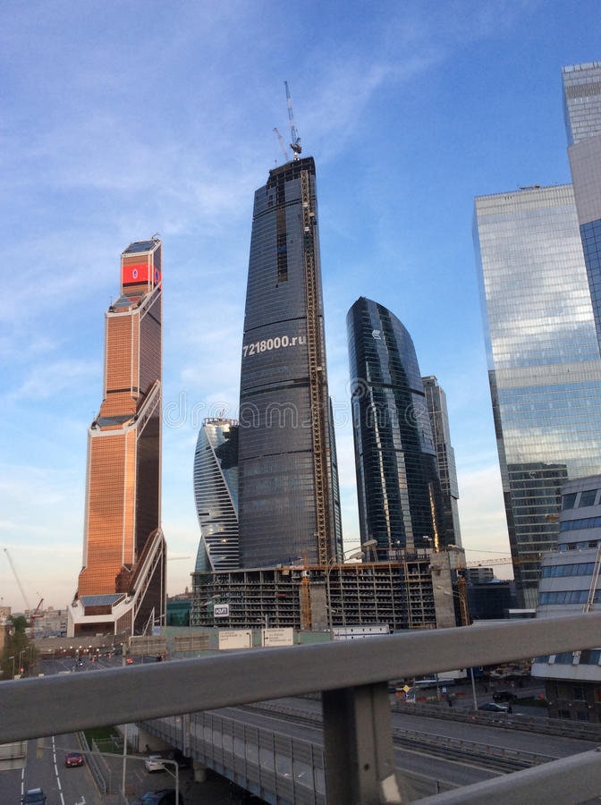 Moscow city sky scrapers. Moscow city business center sky scrapers and Moscow river. Russia, April 2016 stock photo