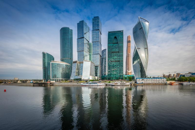 Moscow City skyline. Moscow International Business Centre at day time with Moskva river stock photo
