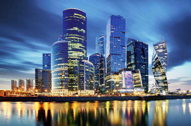 Moscow City skyline . Moscow International Business Centre at ni stock image