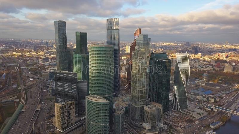 Moscow City skyscrapers, aerial view. Clip. Office business center of moscow city. Moscow-City buildings with sky stock images