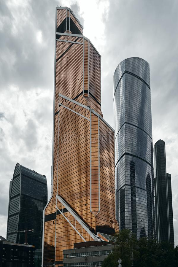 Moscow City skyscrapers in summer in cloudy weather perspective. Moscow City skyscrapers in summer in cloudy weather after the rain in perspective royalty free stock images
