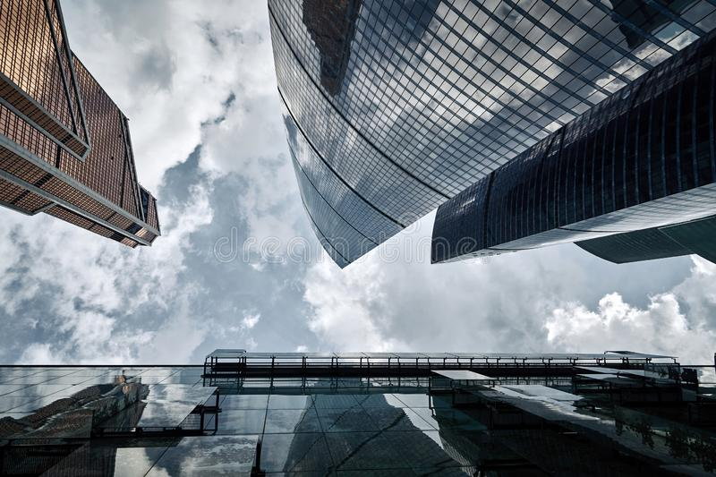 Moscow City skyscrapers in summer in cloudy weather perspective. Moscow City skyscrapers in summer in cloudy weather after the rain in perspective stock images