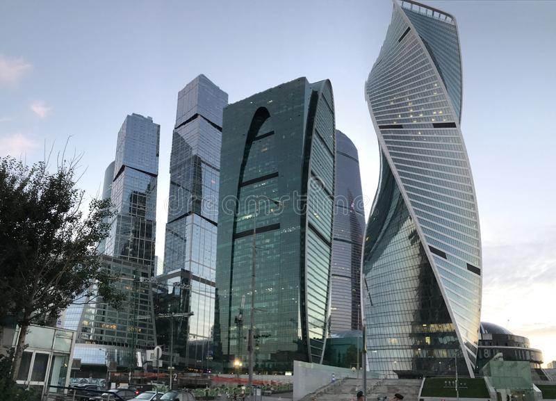 Moscow City - view of skyscrapers Moscow International Business Center stock images