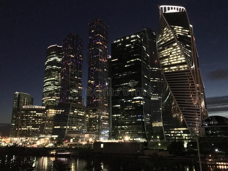 Moscow City - view of skyscrapers Moscow International Business Center at night stock photos
