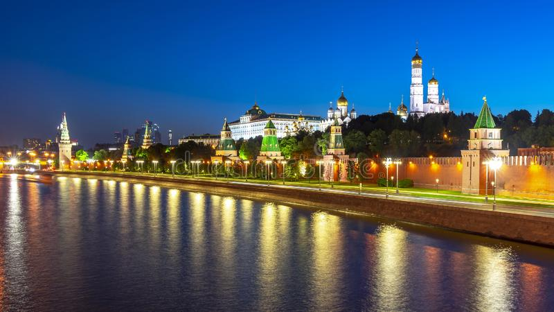 Moscow cityscape with Kremlin at night, Russia stock photo