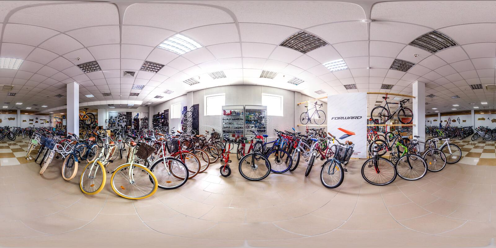 Moscow-2018: 3D spherical panorama with 360 degree viewing angle of empty interior of bicycle store with a lot of bike. Full equir. Moscow-2018: 3D spherical royalty free stock photo