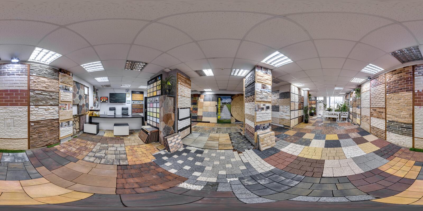 Moscow-2018: 3D spherical panorama with 360 degree viewing angle of the hardware store interior with paving slab and decorative ti. Les. Full equirectangular stock photo